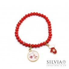 Bracciale elastico con cristalli rossi e ciondoli natalizi Merry Christmas