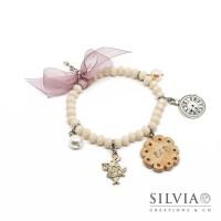 """Bracciale elastico a tema Alice con cristalli, biscotto """"eat"""" e charms"""