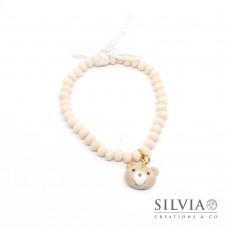 Bracciale elastico con cristalli rosa cipria e musetto orsetto