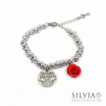 Bracciale a tema Alice con nodini intrecciati in alluminio e charms