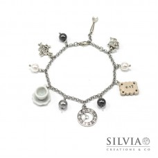 Bracciale Alice in Wonderland inspired grigio con charms