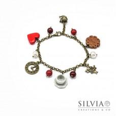 Bracciale Alice inspired color bronzo con cuore rosso