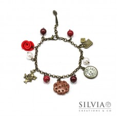 Bracciale Alice in Wonderland inspired bronzo rosa rossa