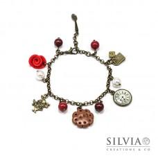 Bracciale Alice inspired color bronzo con rosa rossa