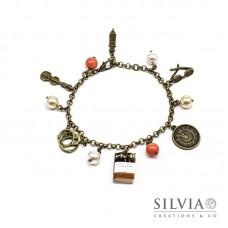 Bracciale bronzo Sherlock Holmes con charms