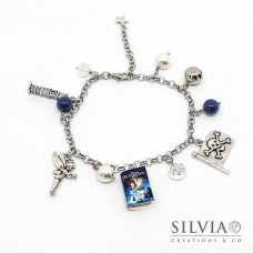 Bracciale acciaio Peter Pan inspired con charms
