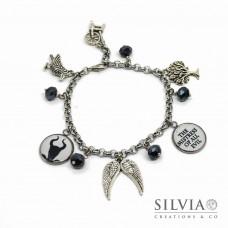 Bracciale catena acciaio Malefica inspired con charms