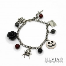 Bracciale catena acciaio Jack Halloween inspired con charms