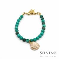 Bracciale con perle di turchese da 6 mm e conchiglia bianca e oro