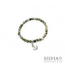 Bracciale uomo con perle di giada verde da 6mm e ancora in acciaio