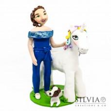 Cake topper personalizzato con bambina e unicorno