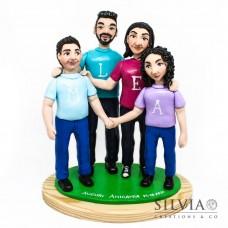 Cake topper personalizzato con famiglia