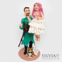 Cake topper sposi Dimitri e Jessica stile manga