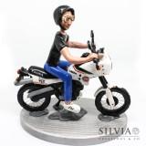 Cake topper personalizzato con moto e ragazzo