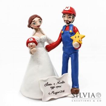 Cake topper sposi Super Mario e lei