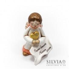 Angelo in fimo con cuore e targhetta 9x4 cm
