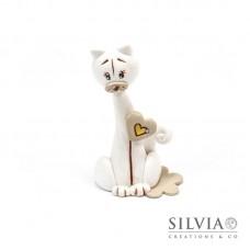 Gatto bianco e beige con cuore 8.5x6x4 cm