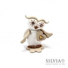 Gufo bianco e beige con cuore 6x6x3 cm