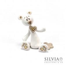Orso bianco e beige con cuore 8.5x7.5x4 cm