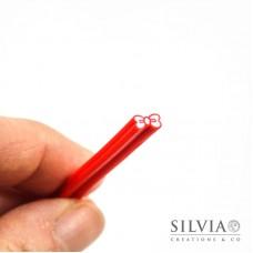 Canes in pasta polimerica a forma di fiocco rosso 5x50 mm