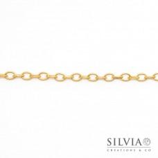 Catena ovale color oro opaco da 6x5 mm in ottone x20cm