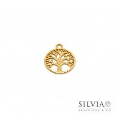 Charm a forma di albero della vita oro opaco in zama 24x20 mm