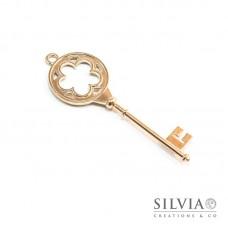 Charm a forma di chiave oro in zama 77x26 mm