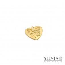 Charm a forma di cuore con scritta oro opaco in zama 21x20 mm
