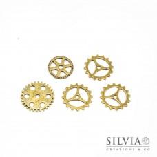 Charm a forma di ingranaggi steampunk oro forma casuale x 5pz