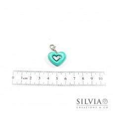 Charm cuore azzurro tiffany e argento con moschettone