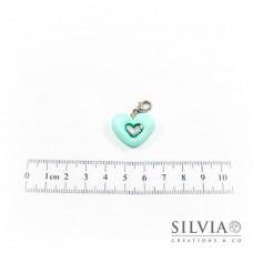 Charm cuore azzurro tiffany chiaro e argento con moschettone