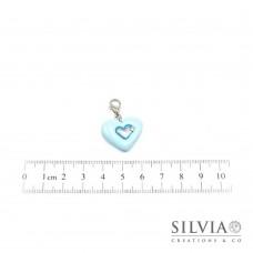 Charm cuore azzurro baby e argento con moschettone