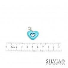 Charm cuore azzurro menta e argento con moschettone