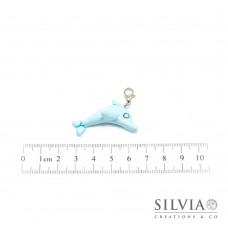 Charm delfino azzurro baby con moschettone