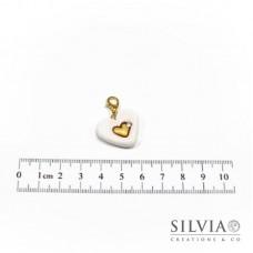 Charm cuore bianco e oro con moschettone