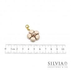 Charm fiore beige e perla bronzo con moschettone