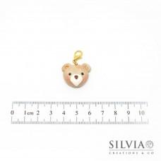 Charm muso orsetto beige e bianco con moschettone