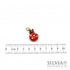 Charm coccinella rossa e oro con moschettone