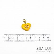Charm cuore giallo e oro con moschettone