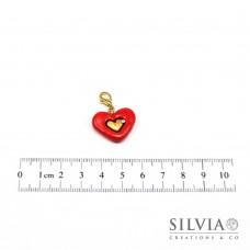 Charm cuore rosso e oro con moschettone