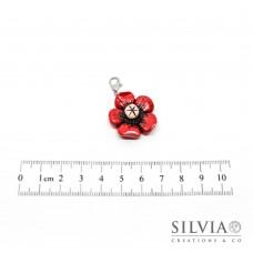 Charm fiore rosso e beige con moschettone