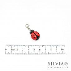 Charm coccinella rossa e nera con moschettone