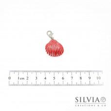 Charm conchiglia rossa e foglia argento con moschettone