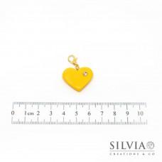 Charm cuore giallo e strass con moschettone