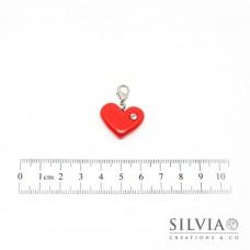 Charm cuore rosso e strass con moschettone