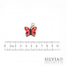 Charm farfalla rossa e nera con moschettone