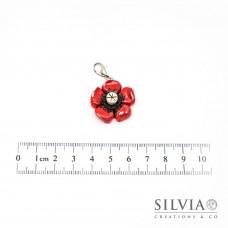 Charm fiore rosso  con moschettone