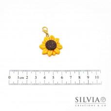 Charm girasole giallo con moschettone