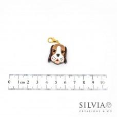 Charm muso cane beagle caramello con moschettone