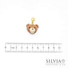 Charm muso orsetto caramello e beige con moschettone